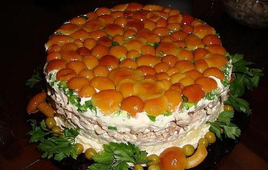 Салат грибная поляна с опятами рецепт с пошагово